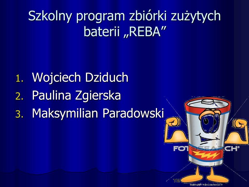 """Szkolny program zbiórki zużytych baterii """"REBA 1."""