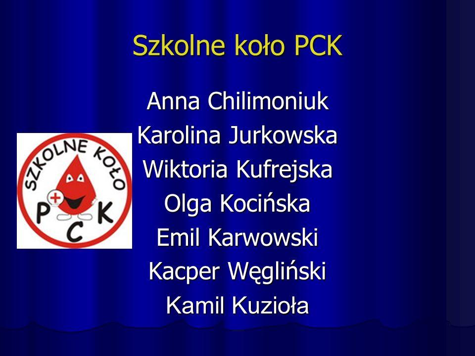 Szkolne koło PCK Anna Chilimoniuk Karolina Jurkowska Wiktoria Kufrejska Olga Kocińska Emil Karwowski Kacper Węgliński Kamil Kuzioła