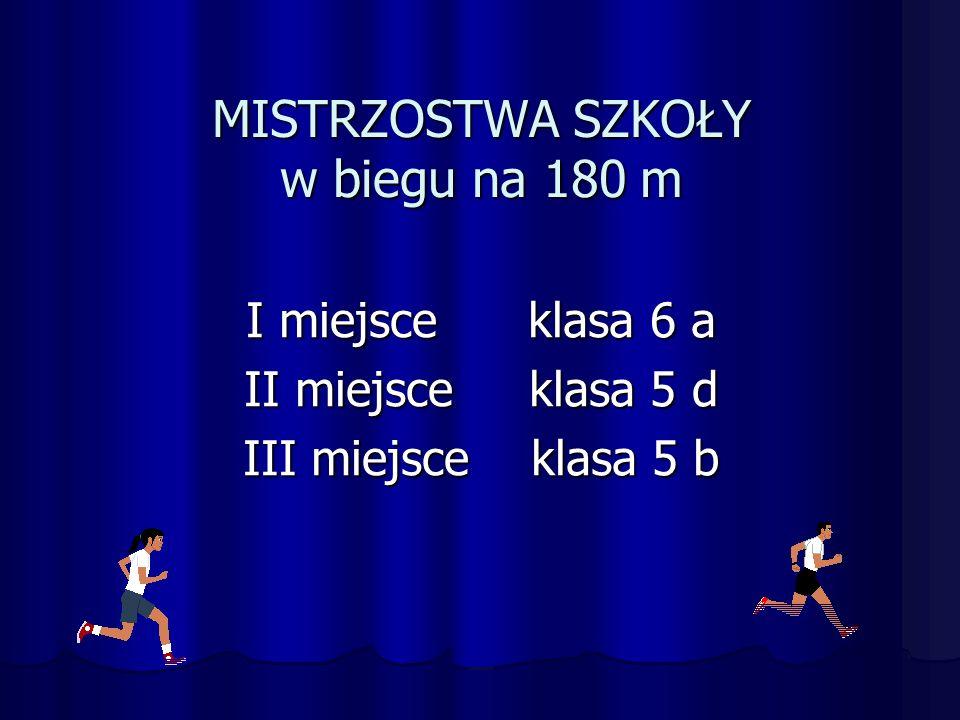 MISTRZOSTWA SZKOŁY w biegu na 180 m I miejsce klasa 6 a II miejsce klasa 5 d III miejsce klasa 5 b