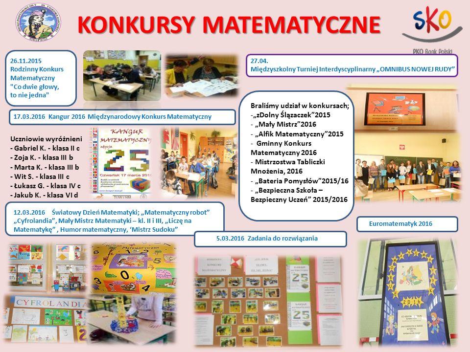 KONKURSY MATEMATYCZNE 17.03.2016 Kangur 2016 Międzynarodowy Konkurs Matematyczny Uczniowie wyróżnieni - Gabriel K. - klasa II c - Zoja K. - klasa III