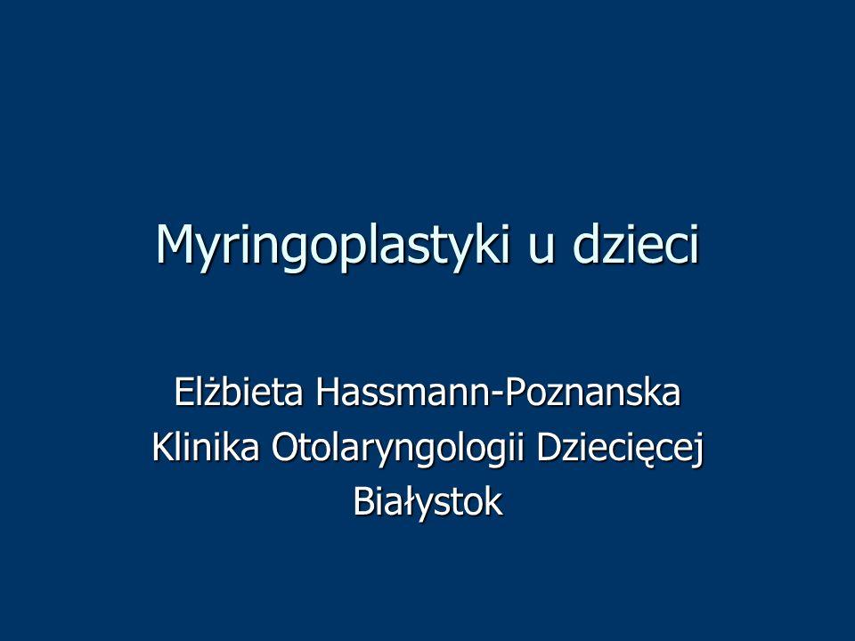Myringoplastyki u dzieci Elżbieta Hassmann-Poznanska Klinika Otolaryngologii Dziecięcej Białystok