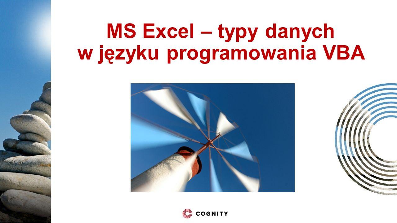 MS Excel – typy danych w języku programowania VBA