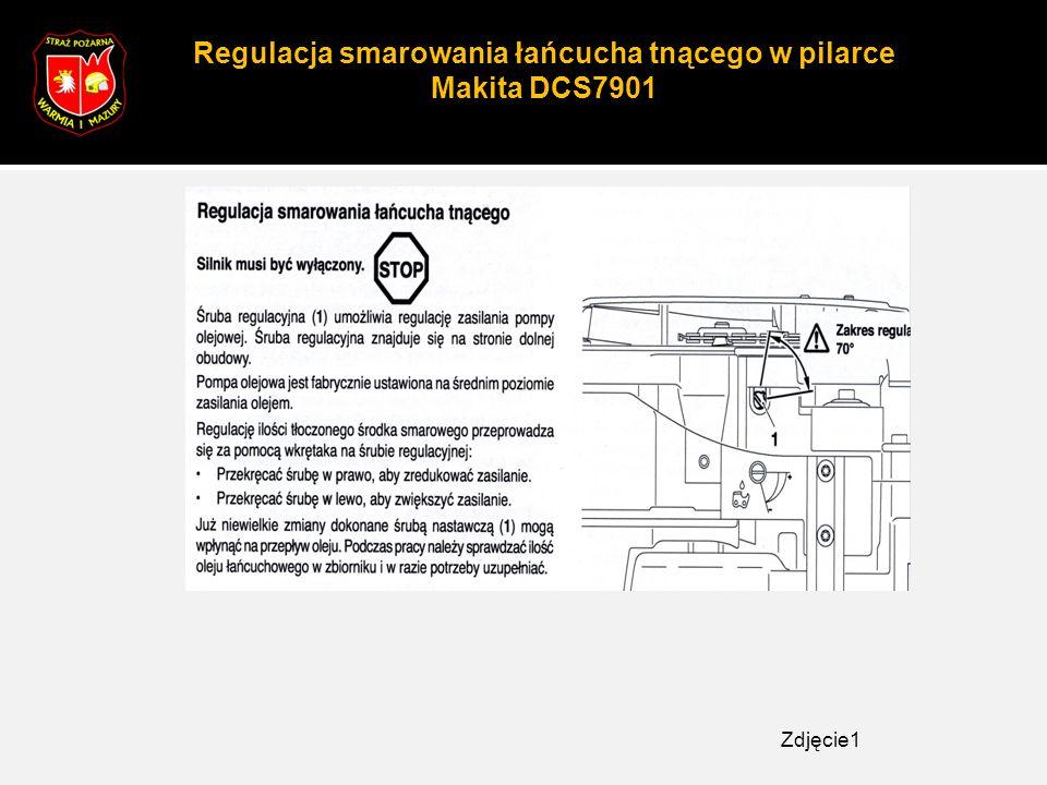 Regulacja smarowania łańcucha tnącego w pilarce Makita DCS7901 Zdjęcie1