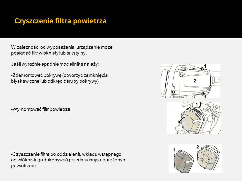 Czyszczenie filtra powietrza W zależności od wyposażenia, urządzenie może posiadać filtr włóknisty lub tekstylny. Jeśli wyraźnie spadnie moc silnika n