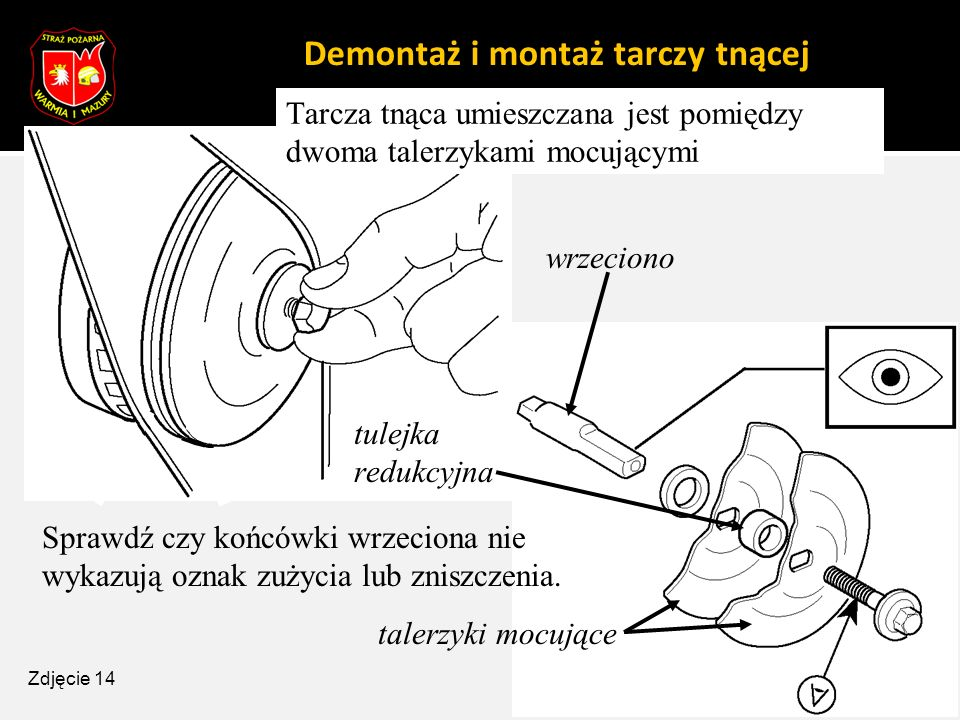 Demontaż i montaż tarczy tnącej Tarcza tnąca umieszczana jest pomiędzy dwoma talerzykami mocującymi Sprawdź czy końcówki wrzeciona nie wykazują oznak
