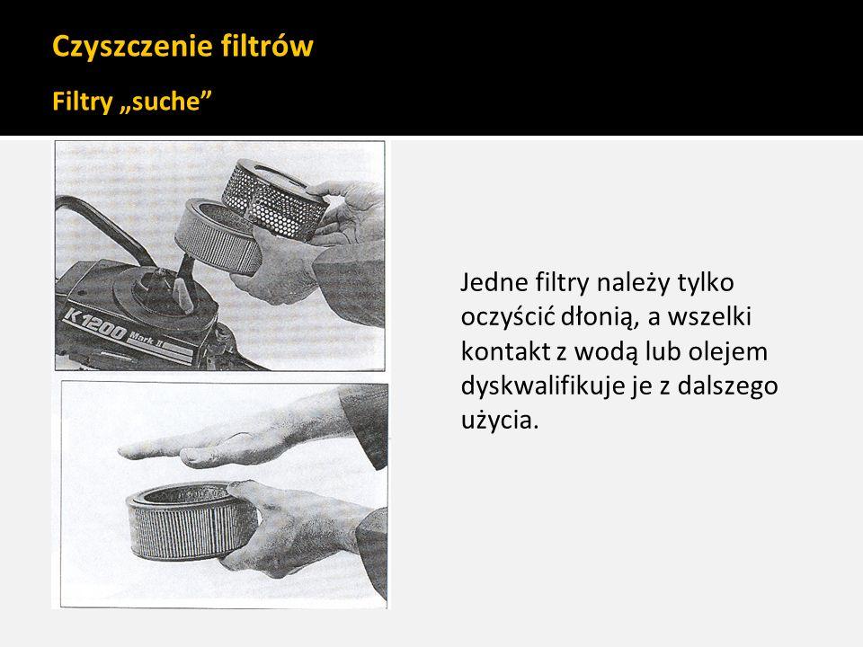 """Czyszczenie filtrów Filtry """"suche"""" Jedne filtry należy tylko oczyścić dłonią, a wszelki kontakt z wodą lub olejem dyskwalifikuje je z dalszego użycia."""
