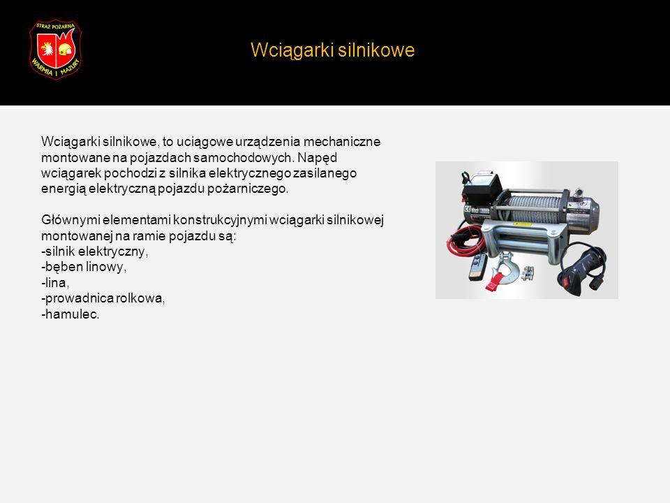 Wciągarki silnikowe Wciągarki silnikowe, to uciągowe urządzenia mechaniczne montowane na pojazdach samochodowych. Napęd wciągarek pochodzi z silnika e