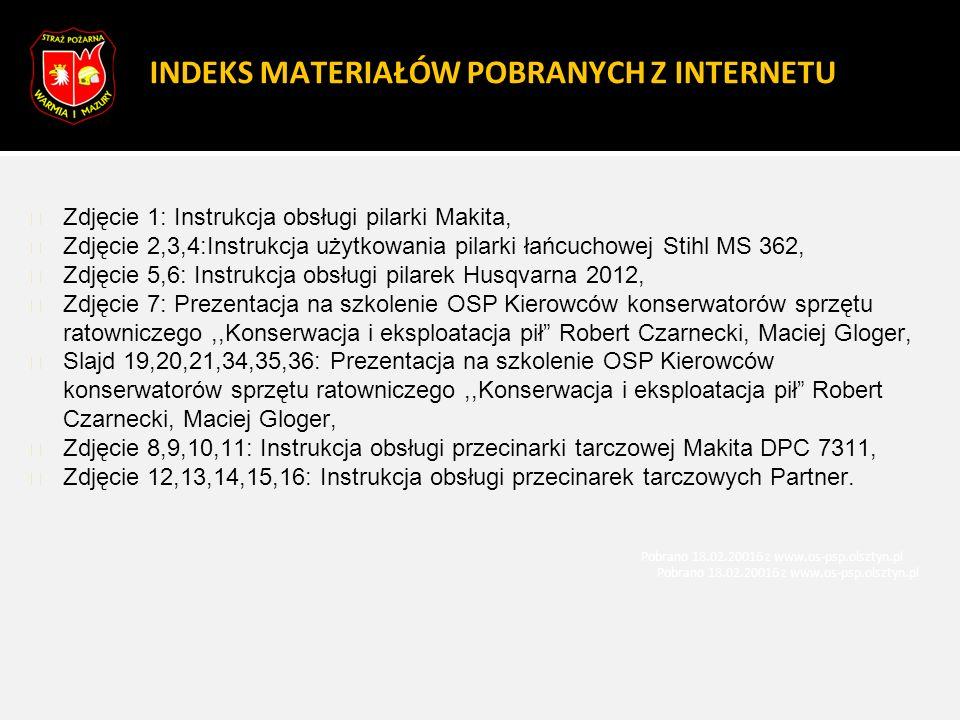 INDEKS MATERIAŁÓW POBRANYCH Z INTERNETU Zdjęcie 1: Instrukcja obsługi pilarki Makita, Zdjęcie 2,3,4:Instrukcja użytkowania pilarki łańcuchowej Stihl M