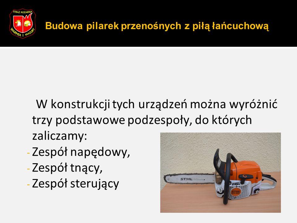W konstrukcji tych urządzeń można wyróżnić trzy podstawowe podzespoły, do których zaliczamy: - Zespół napędowy, - Zespół tnący, - Zespół sterujący Bud