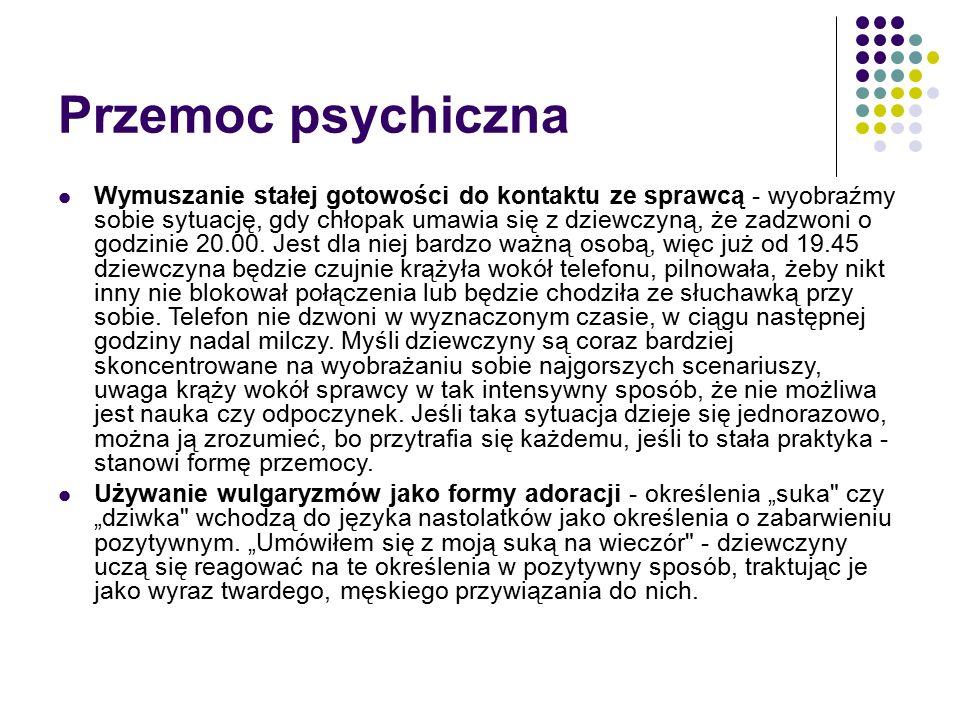 W prezentacji wykorzystano informacje umieszczone na : http://www.poradnikzdrowie.pl/psychologia/zwiazki/p rzemoc-w-zwiazku- nastolatkow_37634.html?page=1& http://www.niebieskalinia.pl/pismo/wydania/dostepne -artykuly/5030-przemoc-w-zwiazkach-nastolatkow- cz-i