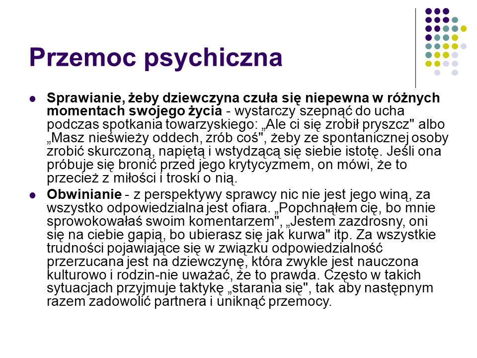 Przemoc psychiczna Skracanie dystansu w związku -np.