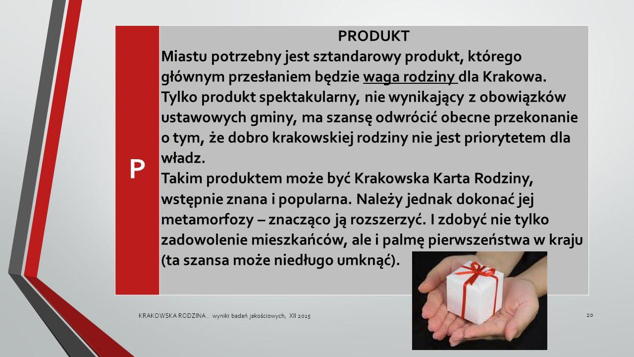 P PRODUKT Miastu potrzebny jest sztandarowy produkt, którego głównym przesłaniem będzie waga rodziny dla Krakowa.