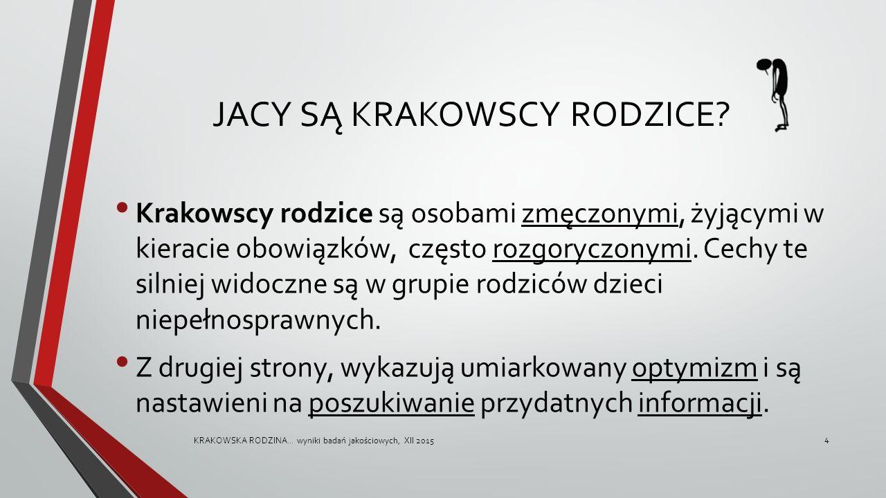 JACY SĄ KRAKOWSCY RODZICE? Krakowscy rodzice są osobami zmęczonymi, żyjącymi w kieracie obowiązków, często rozgoryczonymi. Cechy te silniej widoczne s