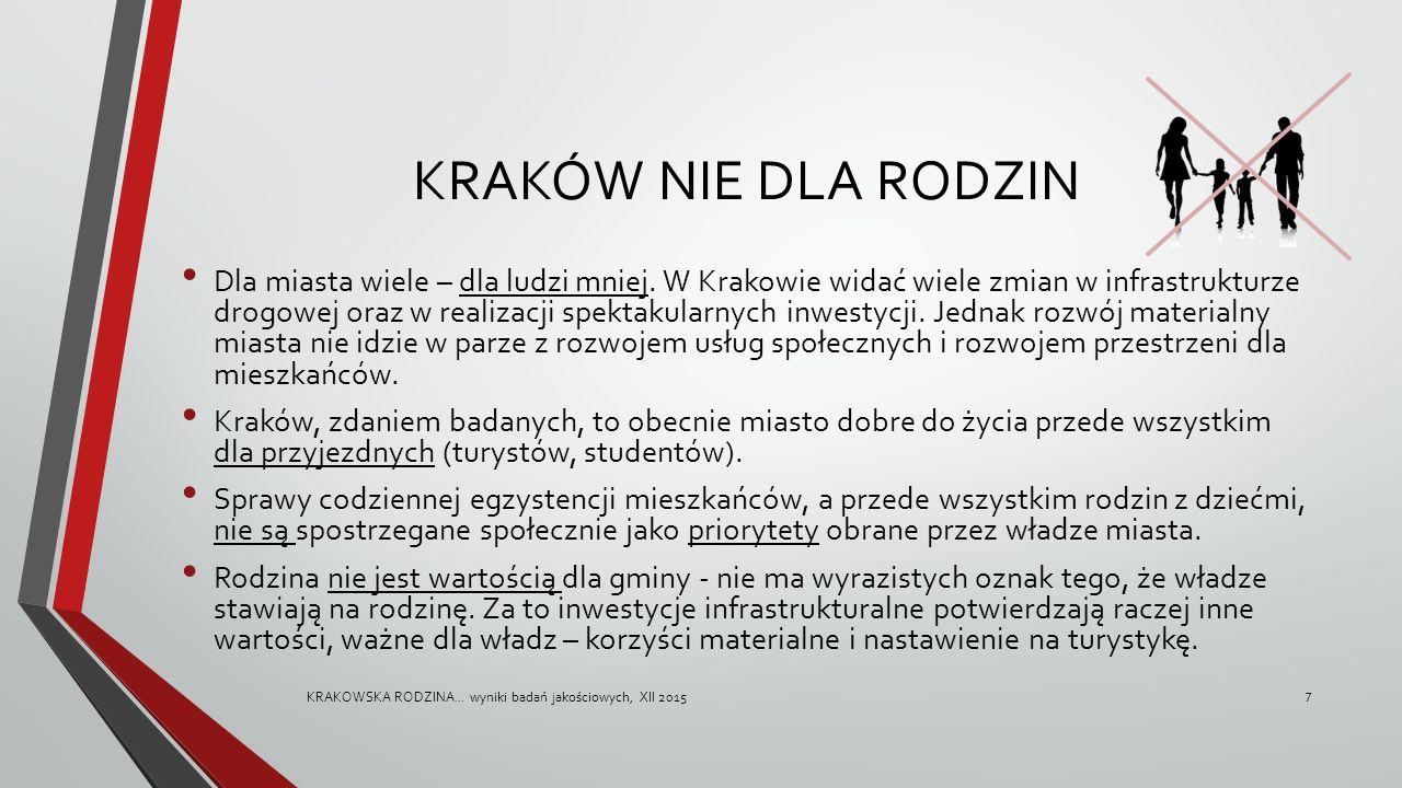 KRAKÓW NIE DLA RODZIN Dla miasta wiele – dla ludzi mniej. W Krakowie widać wiele zmian w infrastrukturze drogowej oraz w realizacji spektakularnych in