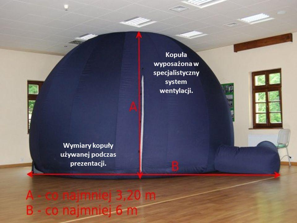 Wymiary kopuły używanej podczas prezentacji. Kopuła wyposażona w specjalistyczny system wentylacji.