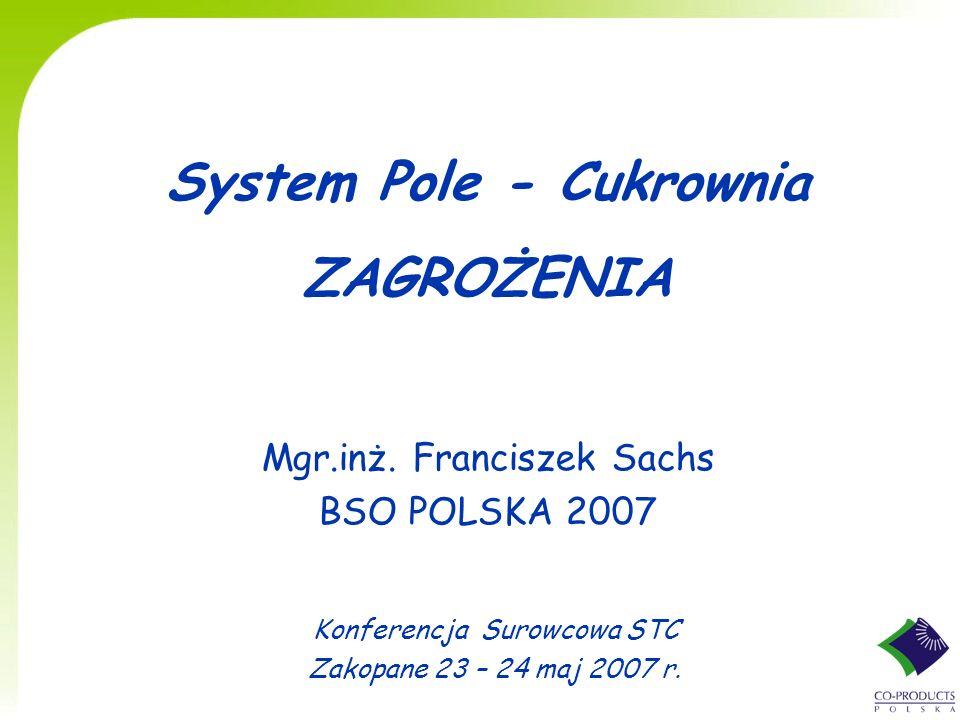 System Pole - Cukrownia ZAGROŻENIA Mgr.inż. Franciszek Sachs BSO POLSKA 2007 Konferencja Surowcowa STC Zakopane 23 – 24 maj 2007 r.