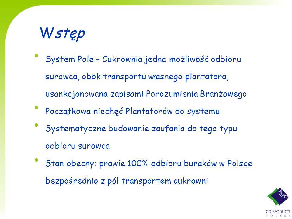 Wstęp System Pole – Cukrownia jedna możliwość odbioru surowca, obok transportu własnego plantatora, usankcjonowana zapisami Porozumienia Branżowego Po