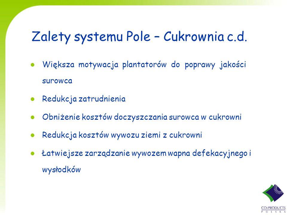 Zalety systemu Pole – Cukrownia c.d. l Większa motywacja plantatorów do poprawy jakości surowca l Redukcja zatrudnienia l Obniżenie kosztów doczyszcza