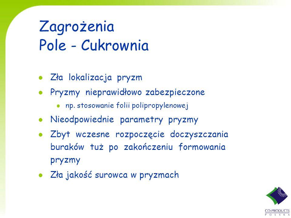 Zagrożenia Pole - Cukrownia l Zła lokalizacja pryzm l Pryzmy nieprawidłowo zabezpieczone l np. stosowanie folii polipropylenowej l Nieodpowiednie para