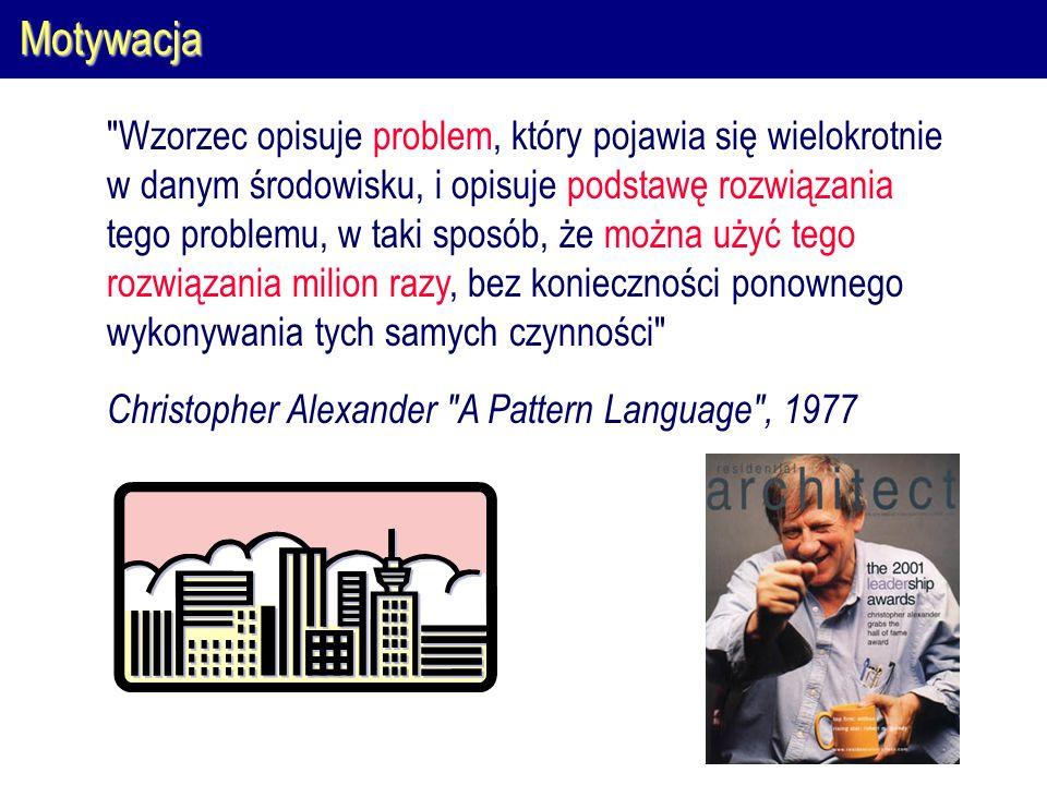 Motywacja Wzorzec opisuje problem, który pojawia się wielokrotnie w danym środowisku, i opisuje podstawę rozwiązania tego problemu, w taki sposób, że można użyć tego rozwiązania milion razy, bez konieczności ponownego wykonywania tych samych czynności Christopher Alexander A Pattern Language , 1977