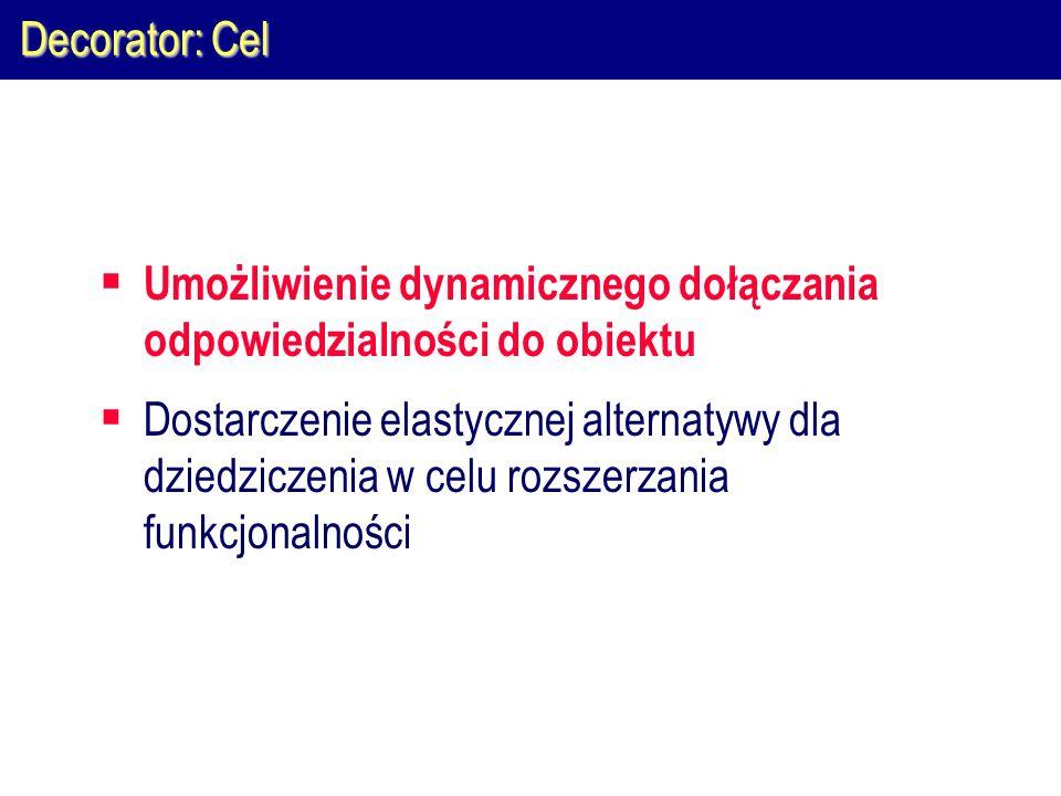 Decorator: Cel  Umożliwienie dynamicznego dołączania odpowiedzialności do obiektu  Dostarczenie elastycznej alternatywy dla dziedziczenia w celu roz