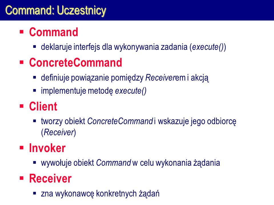 Command: Uczestnicy  Command  deklaruje interfejs dla wykonywania zadania ( execute() )  ConcreteCommand  definiuje powiązanie pomiędzy Receiver em i akcją  implementuje metodę execute()  Client  tworzy obiekt ConcreteCommand i wskazuje jego odbiorcę ( Receiver )  Invoker  wywołuje obiekt Command w celu wykonania żądania  Receiver  zna wykonawcę konkretnych żądań