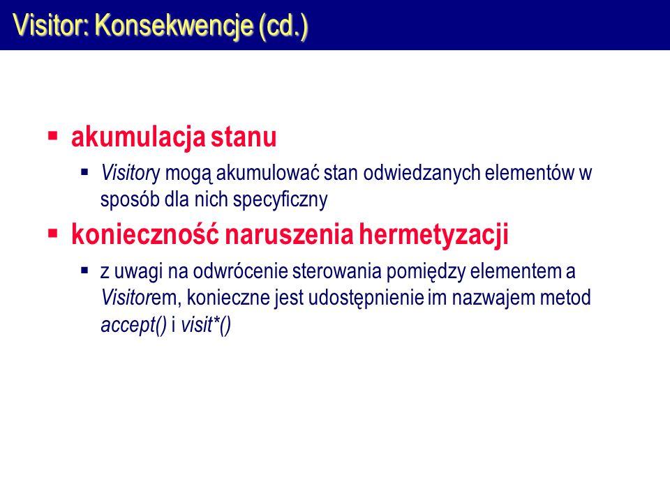 Visitor: Konsekwencje (cd.)  akumulacja stanu  Visitor y mogą akumulować stan odwiedzanych elementów w sposób dla nich specyficzny  konieczność naruszenia hermetyzacji  z uwagi na odwrócenie sterowania pomiędzy elementem a Visitor em, konieczne jest udostępnienie im nazwajem metod accept() i visit*()