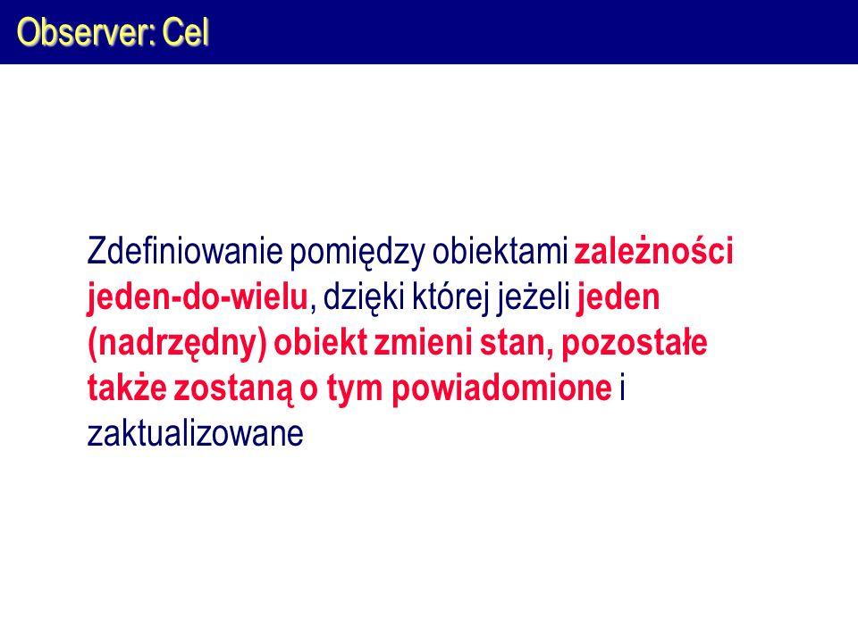 Observer: Cel Zdefiniowanie pomiędzy obiektami zależności jeden-do-wielu, dzięki której jeżeli jeden (nadrzędny) obiekt zmieni stan, pozostałe także z