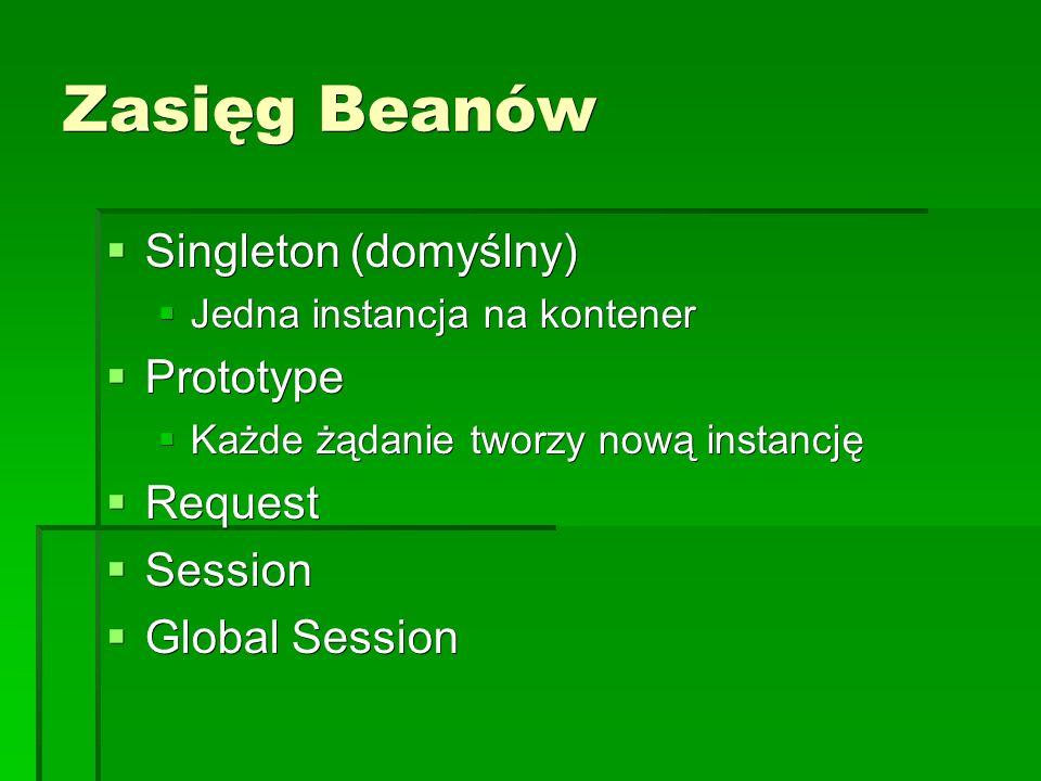 Zasięg Beanów  Singleton (domyślny)  Jedna instancja na kontener  Prototype  Każde żądanie tworzy nową instancję  Request  Session  Global Session