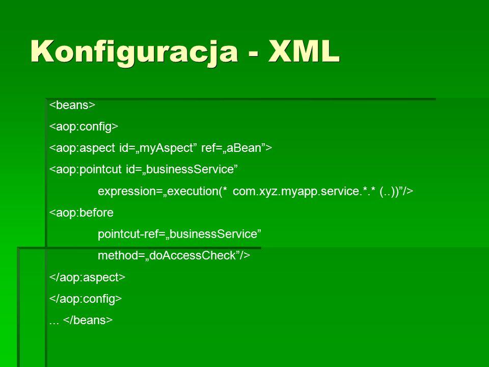 "Konfiguracja - XML <aop:pointcut id=""businessService expression=""execution(* com.xyz.myapp.service.*.* (..)) /> <aop:before pointcut-ref=""businessService method=""doAccessCheck />..."