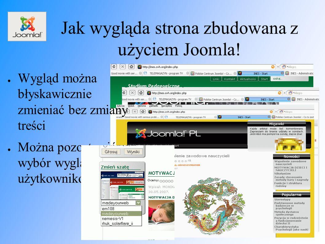 Jak wygląda strona zbudowana z użyciem Joomla.