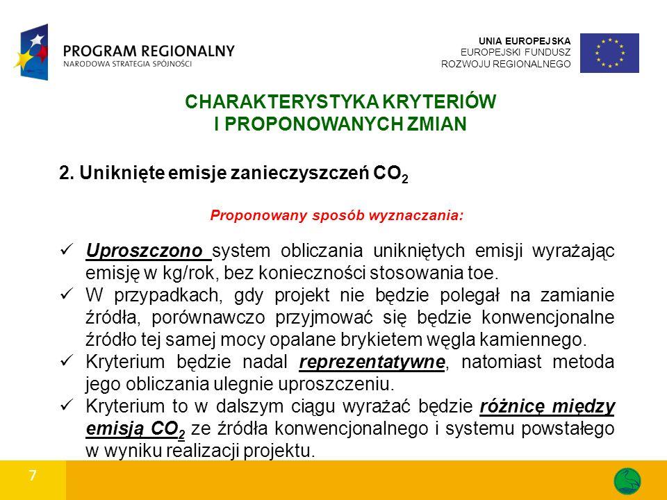 2. Uniknięte emisje zanieczyszczeń CO 2 Proponowany sposób wyznaczania: Uproszczono system obliczania unikniętych emisji wyrażając emisję w kg/rok, be