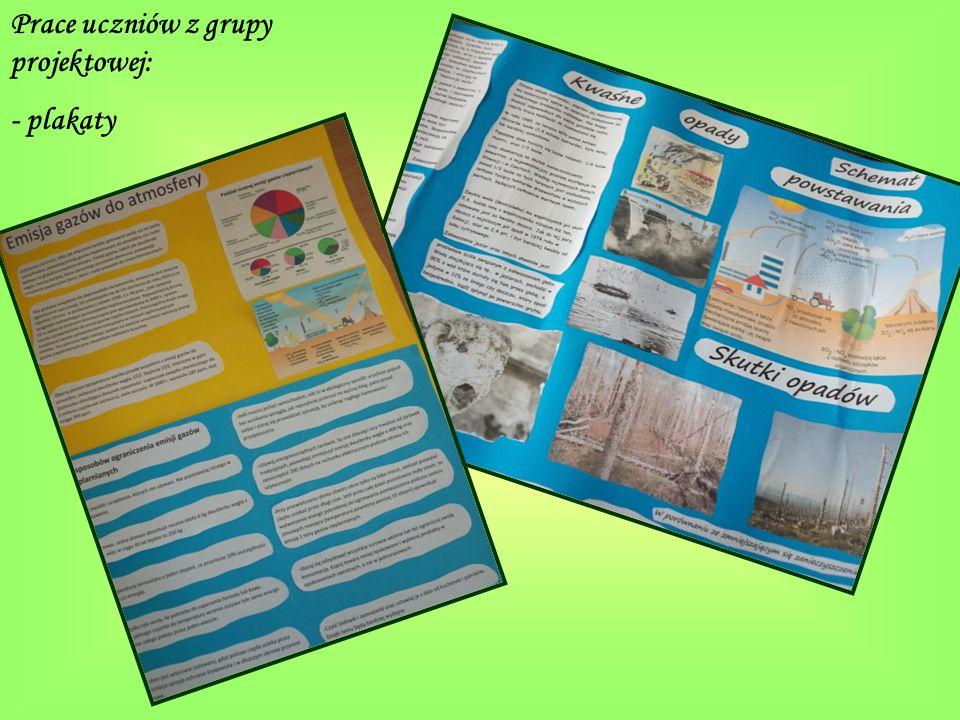 Prace uczniów z grupy projektowej: - plakaty
