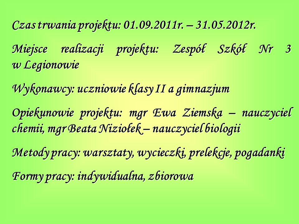 Czas trwania projektu: 01.09.2011r. – 31.05.2012r.