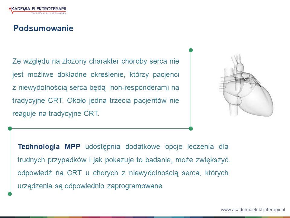 Podsumowanie Technologia MPP udostępnia dodatkowe opcje leczenia dla trudnych przypadków i jak pokazuje to badanie, może zwiększyć odpowiedź na CRT u chorych z niewydolnością serca, których urządzenia są odpowiednio zaprogramowane.