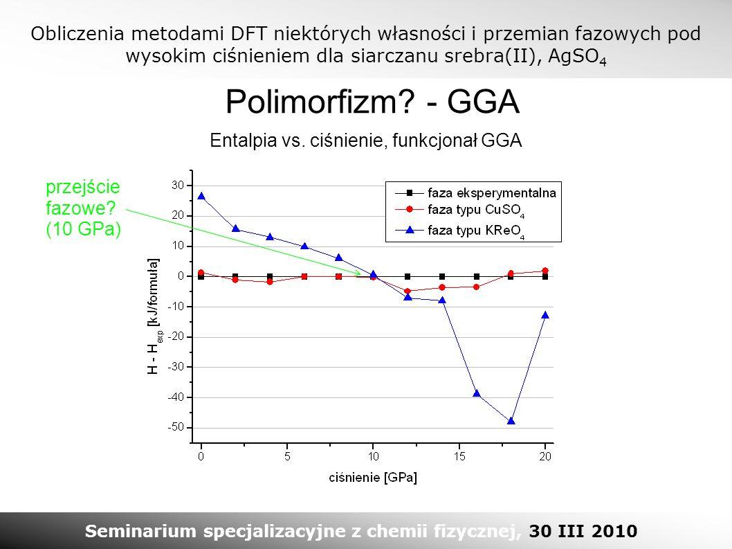 Obliczenia metodami DFT niektórych własności i przemian fazowych pod wysokim ciśnieniem dla siarczanu srebra(II), AgSO 4 Seminarium specjalizacyjne z chemii fizycznej, 30 III 2010 Polimorfizm.
