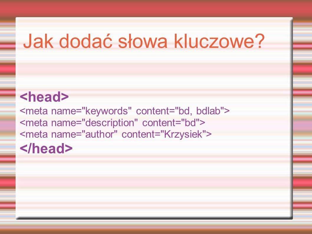 Jak dodać słowa kluczowe?