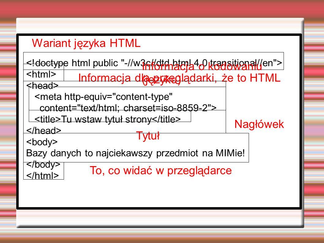 <meta http-equiv= content-type content= text/html; charset=iso-8859-2 > Tu wstaw tytuł strony Bazy danych to najciekawszy przedmiot na MIMie.