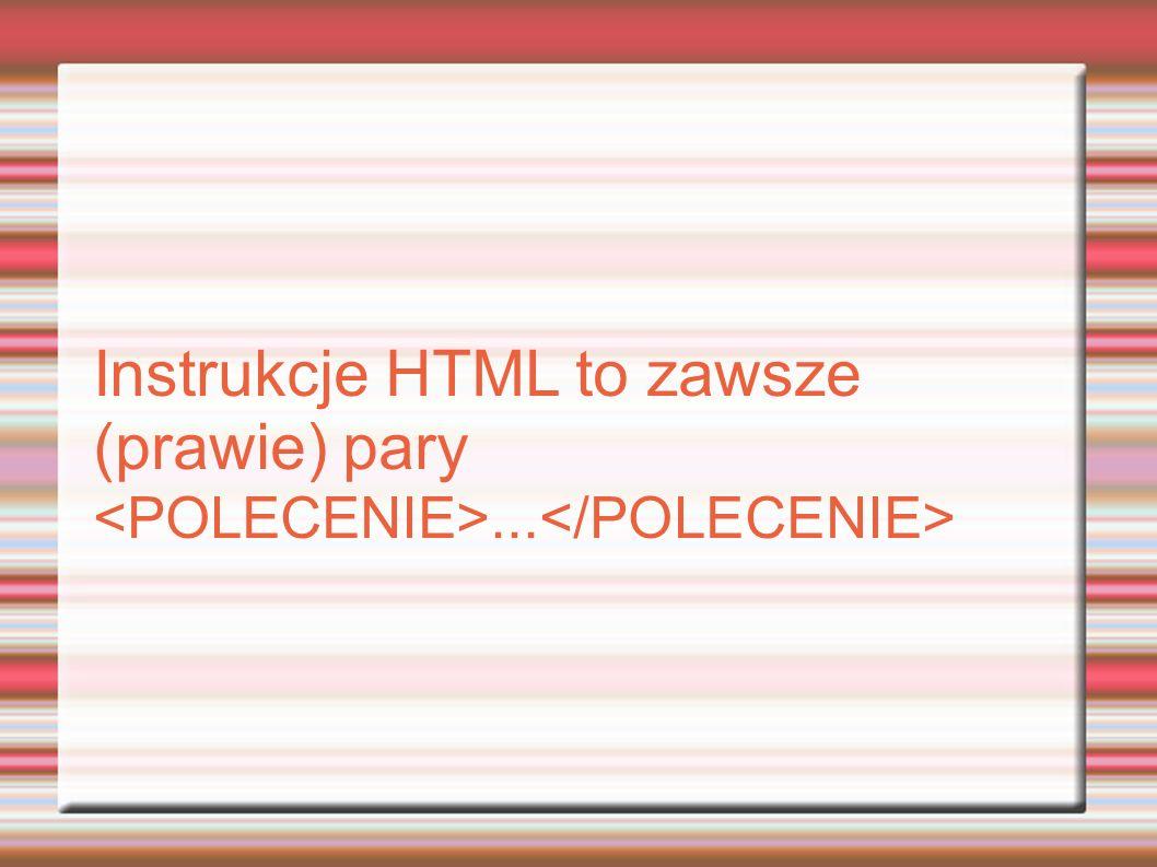 Instrukcje HTML to zawsze (prawie) pary...