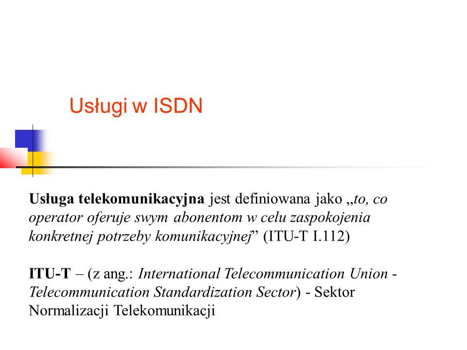 """Usługi w ISDN Usługa telekomunikacyjna jest definiowana jako """"to, co operator oferuje swym abonentom w celu zaspokojenia konkretnej potrzeby komunikacyjnej (ITU-T I.112) ITU-T – (z ang.: International Telecommunication Union - Telecommunication Standardization Sector) - Sektor Normalizacji Telekomunikacji"""