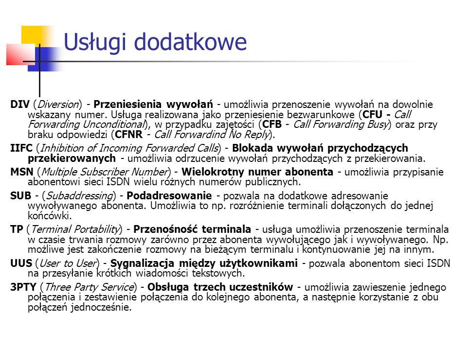 DIV (Diversion) - Przeniesienia wywołań - umożliwia przenoszenie wywołań na dowolnie wskazany numer. Usługa realizowana jako przeniesienie bezwarunkow