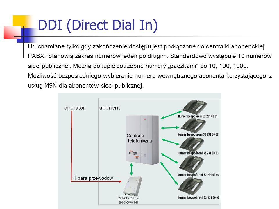 DDI (Direct Dial In) Uruchamiane tylko gdy zakończenie dostępu jest podłączone do centralki abonenckiej PABX. Stanowią zakres numerów jeden po drugim.
