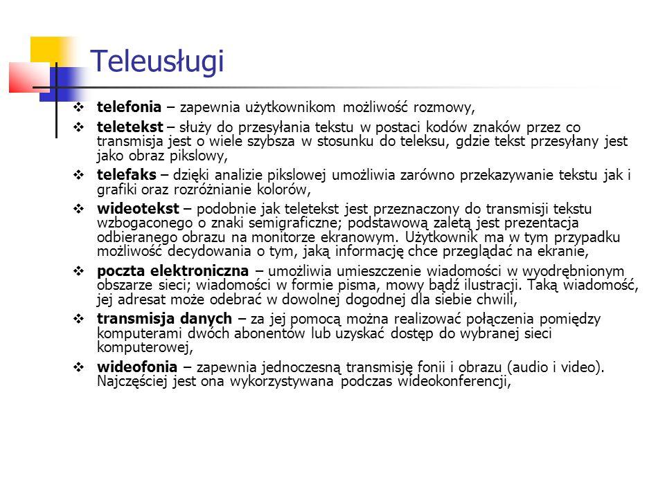 Teleusługi  telefonia – zapewnia użytkownikom możliwość rozmowy,  teletekst – służy do przesyłania tekstu w postaci kodów znaków przez co transmisja jest o wiele szybsza w stosunku do teleksu, gdzie tekst przesyłany jest jako obraz pikslowy,  telefaks – dzięki analizie pikslowej umożliwia zarówno przekazywanie tekstu jak i grafiki oraz rozróżnianie kolorów,  wideotekst – podobnie jak teletekst jest przeznaczony do transmisji tekstu wzbogaconego o znaki semigraficzne; podstawową zaletą jest prezentacja odbieranego obrazu na monitorze ekranowym.