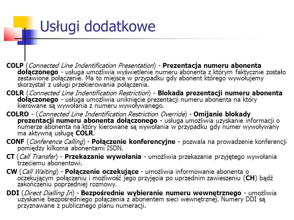 COLP (Connected Line Indentification Presentation) - Prezentacja numeru abonenta dołączonego - usługa umożliwia wyświetlenie numeru abonenta z którym