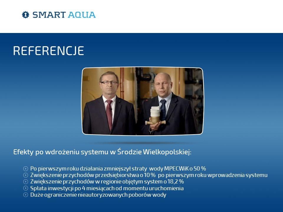 Efekty po wdrożeniu systemu w Środzie Wielkopolskiej: REFERENCJE Po pierwszym roku działania zmniejszył straty wody MPECWiK o 50 % Zwiększenie przycho