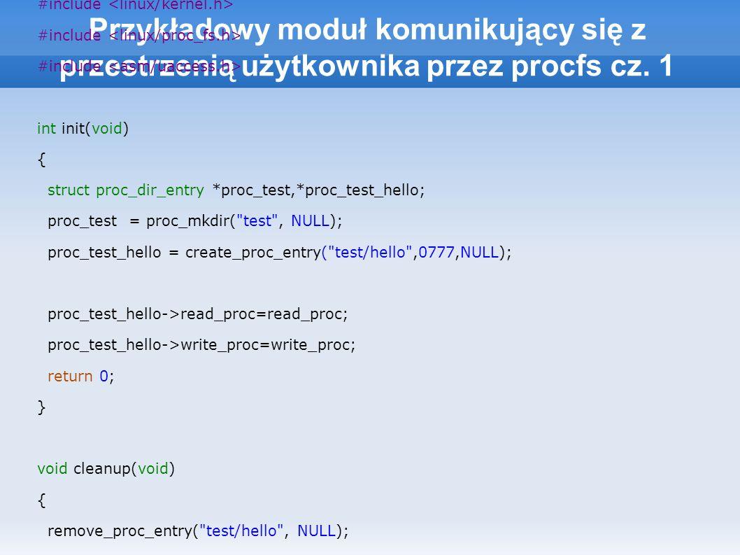 Przykładowy moduł komunikujący się z przestrzenią użytkownika przez procfs cz.