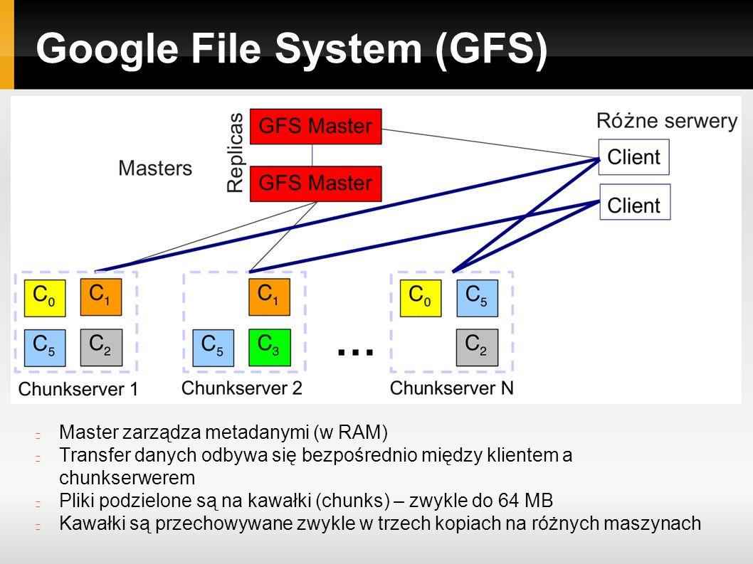 Google File System (GFS) Master zarządza metadanymi (w RAM) Transfer danych odbywa się bezpośrednio między klientem a chunkserwerem Pliki podzielone są na kawałki (chunks) – zwykle do 64 MB Kawałki są przechowywane zwykle w trzech kopiach na różnych maszynach