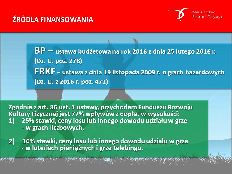 ŹRÓDŁA FINANSOWANIA Zgodnie z art. 86 ust. 3 ustawy, przychodem Funduszu Rozwoju Kultury Fizycznej jest 77% wpływów z dopłat w wysokości: 1)25% stawki