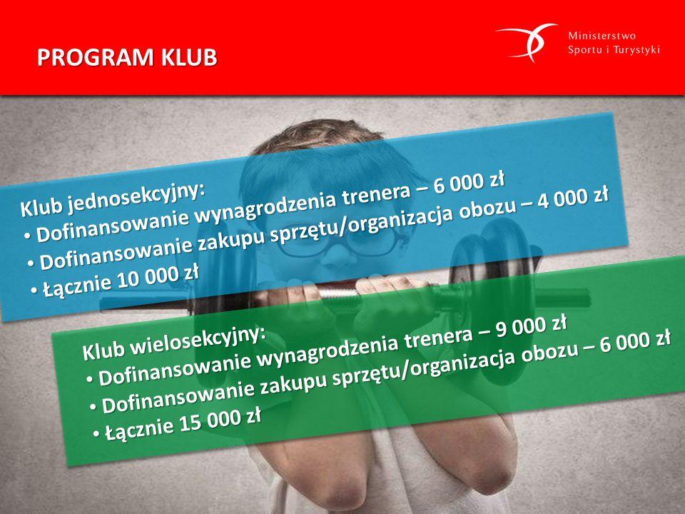 PROGRAM KLUB Klub jednosekcyjny: Dofinansowanie wynagrodzenia trenera – 6 000 zł Dofinansowanie wynagrodzenia trenera – 6 000 zł Dofinansowanie zakupu