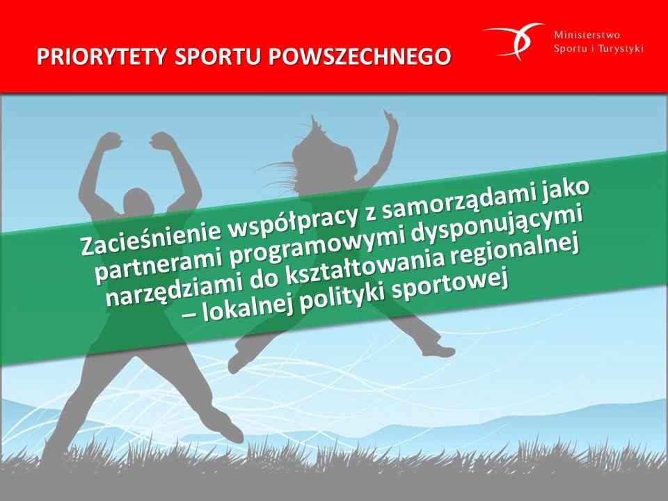Dostarczenie społecznościom lokalnym różnorodnej oferty sportowej dostosowanej do ich potrzeb, wsparcie oddolnych inicjatyw i lokalnych liderów i liderek PRIORYTETY SPORTU POWSZECHNEGO